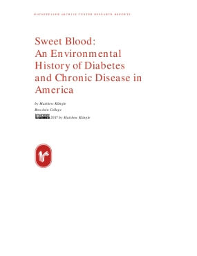 Sweet Blood: An Environmental History of Diabetes and Chronic Disease in America