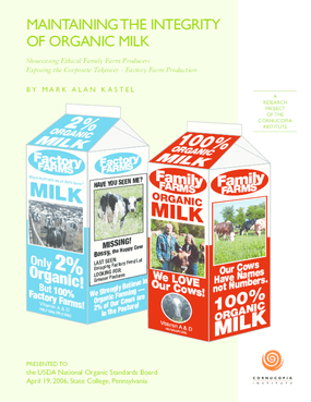 Maintaining the Integrity of Organic Milk