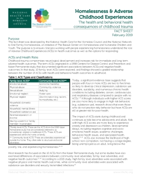 Homelessness & Adverse Childhood Experiences: The Health and Behavioral Health Consequences of Childhood Trauma