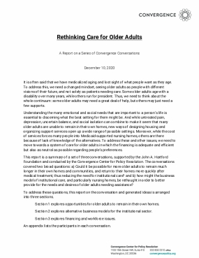 Rethinking Care for Older Adults: A Report on a Series of Convergence Conversations